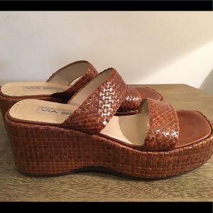 🌿Brown Leather Wedge Sandals Square Toe Italy 7N